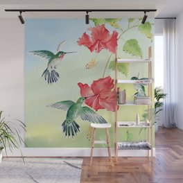 Colorful Hummingbirds and Hibiscus  Wall Mural