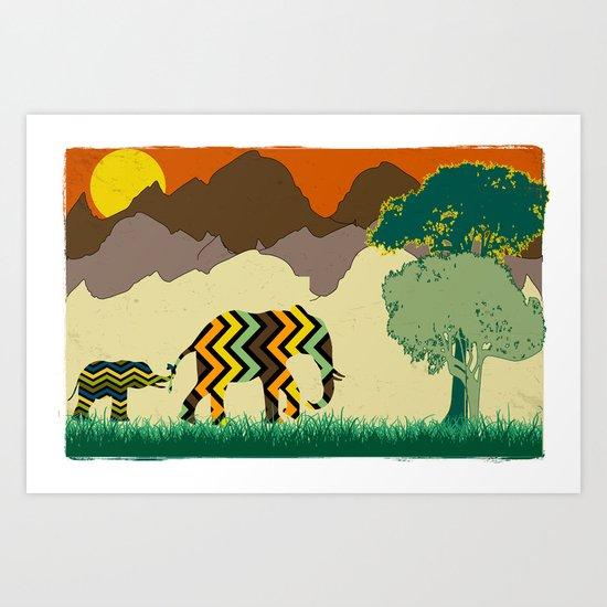Elephant Park 1 Art Print