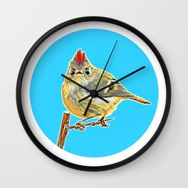 Illustration of a ruby crowned kinglet  Wall Clock