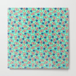 Colorful mint paisley Metal Print