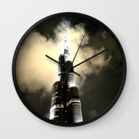 wiz khalifa Wall Clocks featuring Burj Khalifa - Dubai by Ruby_Dag