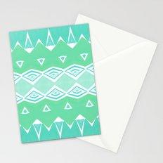 Geo Triangle Sea Green 2 Stationery Cards