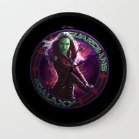 thanos Wall Clocks featuring Gamora - Guardians Of The Galaxy by Leamartes
