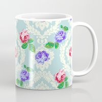 shabby chic Mugs featuring Shabby Chic Rose Pattern by Figen Topbas