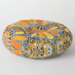 Celebrating the 70's - tangerine orange watercolor on grey Floor Pillow