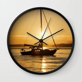 Sunset Escape Boat Wall Clock