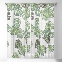 Monstera Garland  Sheer Curtain