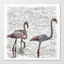 Three Flamingos Watercolor Canvas Print