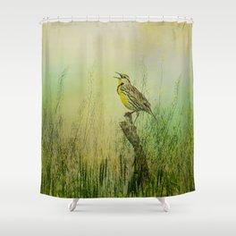 The Meadow Lark Sings Shower Curtain