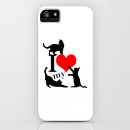 I Love My Cats - black red iPhone Case