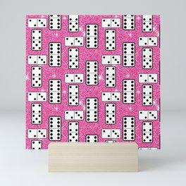 Domino Pieces Dominoes Board Game Pink Glitter  Mini Art Print
