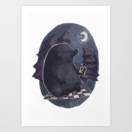 Bear on a Midnight Picnic Art Print