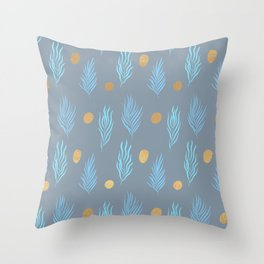 Gold dot and Vintage blue leaf pattern Throw Pillow