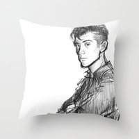 alex turner Throw Pillows featuring alex turner [2] by roanne Q