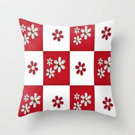 red and white beauty  Throw Pillow
