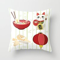 japanese Throw Pillows featuring japanese by Kozza