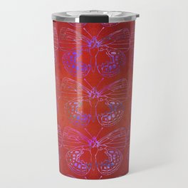 Butterfly Stacks on Red Watercolor Pattern Travel Mug