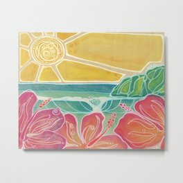 Triple Hibiscus Surf Art by Lauren Tannehill Art Metal Print