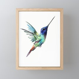 Flying Hummingbird flying bird, turquoise blue elegant bird minimalist design Framed Mini Art Print