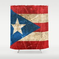 puerto rico Shower Curtains featuring Vintage Aged and Scratched Puerto Rican Flag by Jeff Bartels