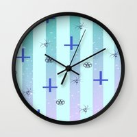 pastel goth Wall Clocks featuring Pastel Goth Pattern by HaruShadows