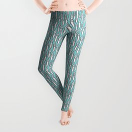 Dip Pen Nibs (Lake Blue and White) Leggings