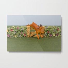 Jumping Rabbit Metal Print
