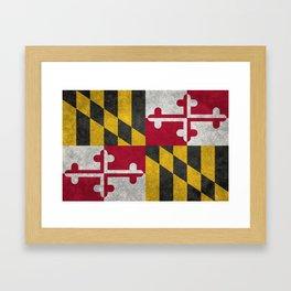 State flag of Flag of Maryland, Vintage retro style Framed Art Print
