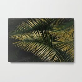 Golden Moments Tropical Palm Leaf Glamour Metal Print