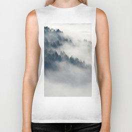 Mountain Fog and Forest Photo Biker Tank