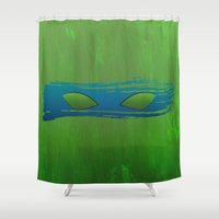 tmnt Shower Curtains featuring TMNT Leo by Some_Designs