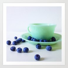 Retro Breakfast - Jadite and Blueberries Art Print