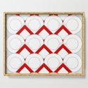 White Circles And Red Squares Abstract Geometric Pattern by createdprototype
