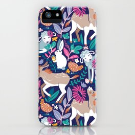 Spring Joy // navy blue background pale blue lambs and brown taupe donkeys blue mint and pink garden iPhone Case