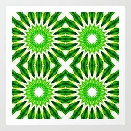 Serene Green Pinwheel Flowers Art Print
