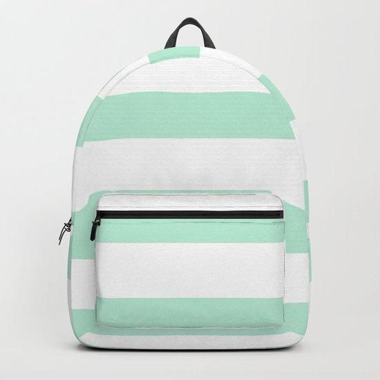Maritime - Mint green and White stripes-horizontal Backpack