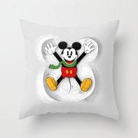 mickey Throw Pillows featuring Snow Mickey by Florent Bodart / Speakerine