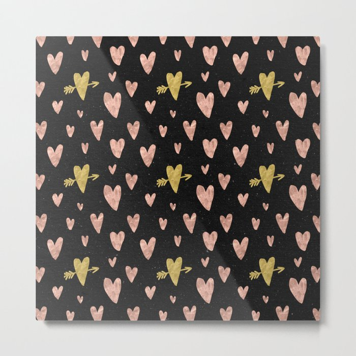 Rose Gold Hearts with Yellow Gold Hearts on Black Metal Print