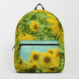 Impressionist Sunflower Fields Backpack