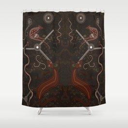Three Billabongs - Australian Aboriginal Art Theme Shower Curtain