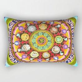 Chakra Mandala, Ayurveda Yoga Aum, Eclectic Colorful Bohemian Sun Sign Moon Sign Zodiac Astrology Rectangular Pillow