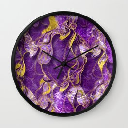 Amethyst  with gold marbled texture Wall Clock