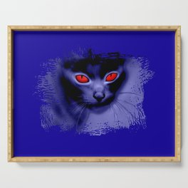 psychedelic demon cat creature with glowing evil red eyes digital painting Serving Tray