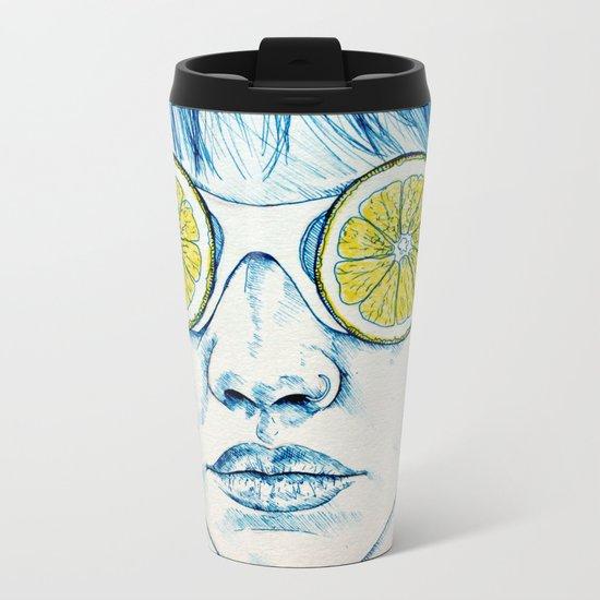 Lemon Lady Metal Travel Mug
