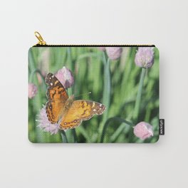 Orange Butterfly on Chives Carry-All Pouch
