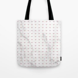 White Marble Blush Pink Abstract Triangle Tote Bag