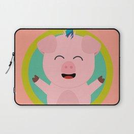 Unicorn Pig in green circle Laptop Sleeve
