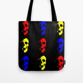 Skull 3x3 - Red/Blue/Yellow Tote Bag
