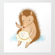 Hedgehog stitching a hedgehog Art Print
