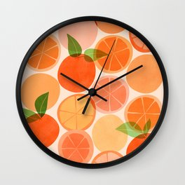 Sunny Oranges / Tropical Fruit Illustration Wall Clock